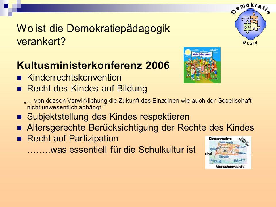 Wo ist die Demokratiepädagogik verankert? Kultusministerkonferenz 2006 Kinderrechtskonvention Recht des Kindes auf Bildung … von dessen Verwirklichung
