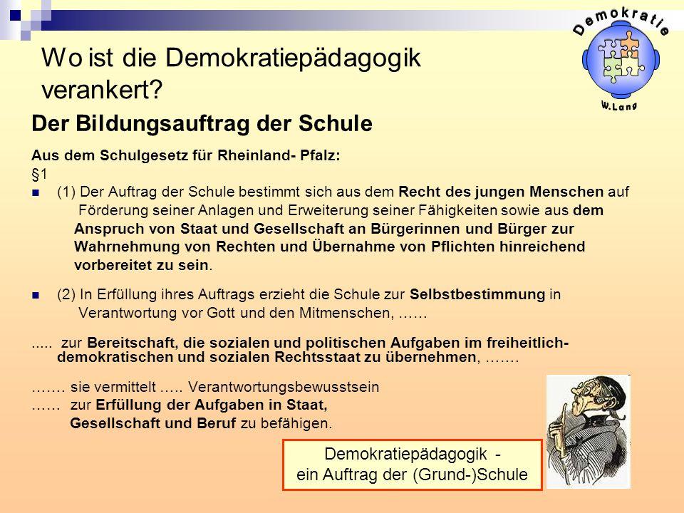 Wo ist die Demokratiepädagogik verankert? Der Bildungsauftrag der Schule Aus dem Schulgesetz für Rheinland- Pfalz: §1 (1) Der Auftrag der Schule besti