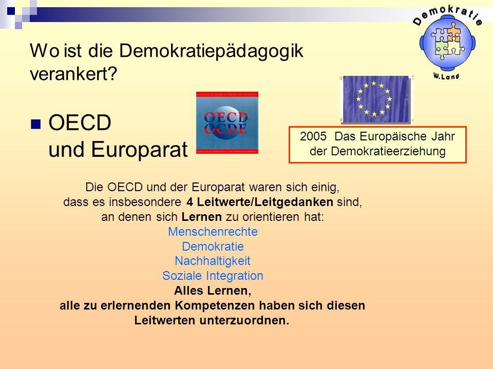 Wo ist die Demokratiepädagogik verankert? OECD und Europarat Die OECD und der Europarat waren sich einig, dass es insbesondere 4 Leitwerte/Leitgedanke