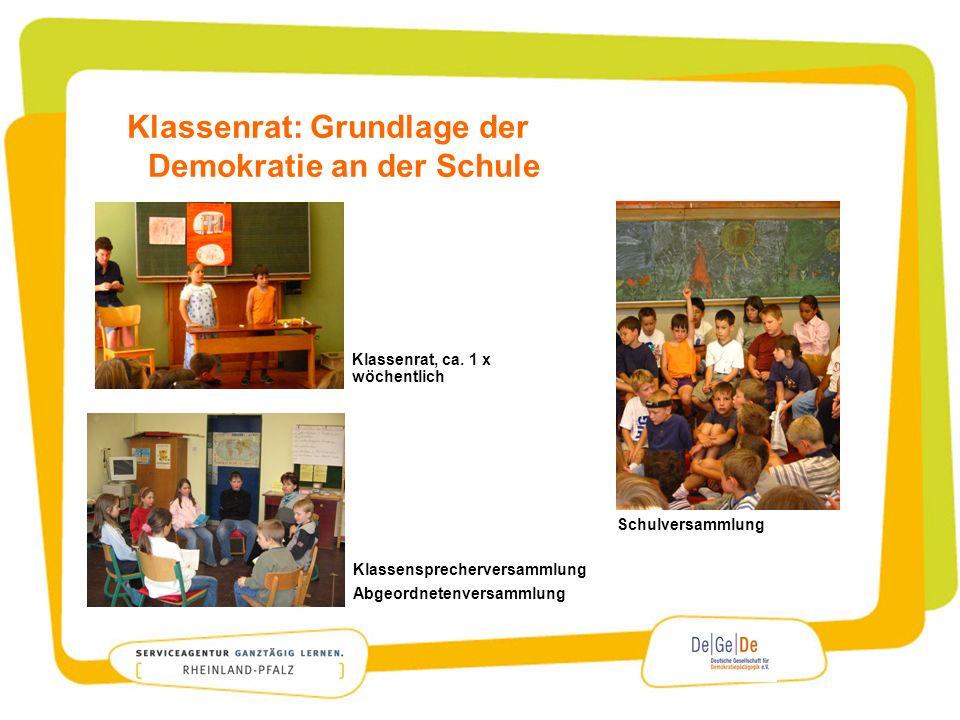 Klassenrat: Grundlage der Demokratie an der Schule Klassenrat, ca. 1 x wöchentlich Klassensprecherversammlung Abgeordnetenversammlung Schulversammlung