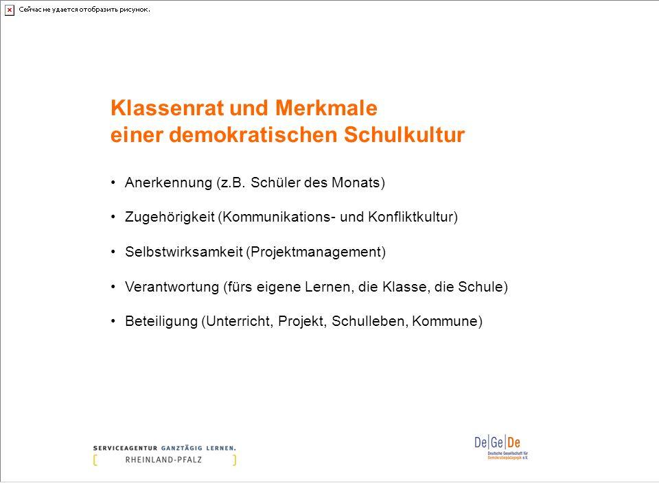 Klassenrat und Merkmale einer demokratischen Schulkultur Anerkennung (z.B. Schüler des Monats) Zugehörigkeit (Kommunikations- und Konfliktkultur) Selb