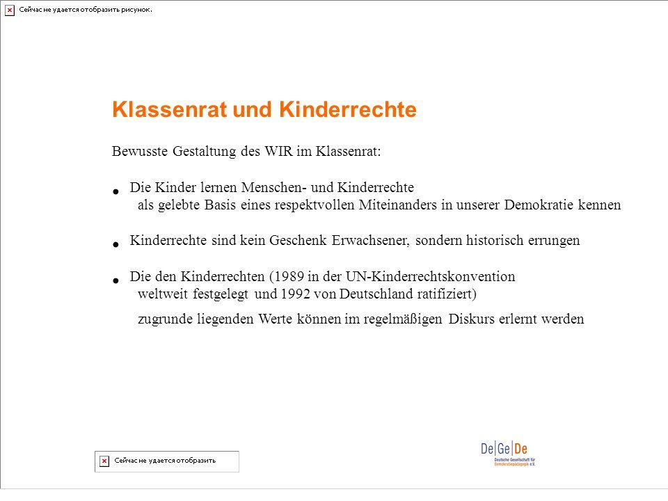 Klassenrat und Kinderrechte Bewusste Gestaltung des WIR im Klassenrat: Die Kinder lernen Menschen- und Kinderrechte als gelebte Basis eines respektvol