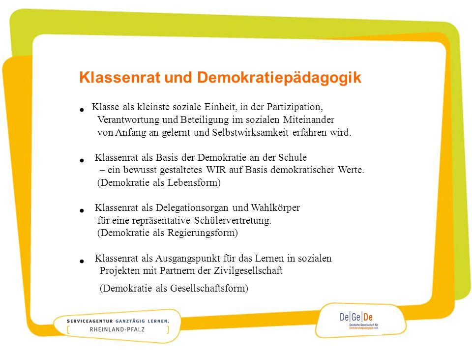 Klassenrat und Demokratiepädagogik Klasse als kleinste soziale Einheit, in der Partizipation, Verantwortung und Beteiligung im sozialen Miteinander vo