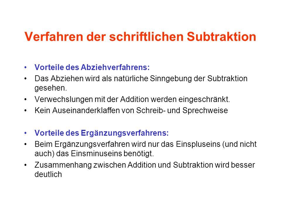 Verfahren der schriftlichen Subtraktion Vorteile des Abziehverfahrens: Das Abziehen wird als natürliche Sinngebung der Subtraktion gesehen. Verwechslu