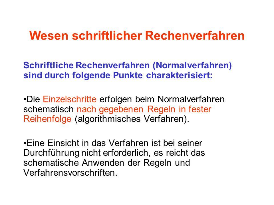 Zur schriftlichen Addition Sprechweise (Rahmenplan, S. 156)