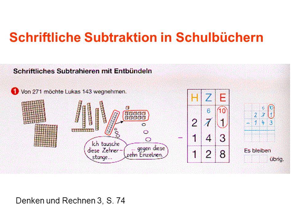 Schriftliche Subtraktion in Schulbüchern Denken und Rechnen 3, S. 74