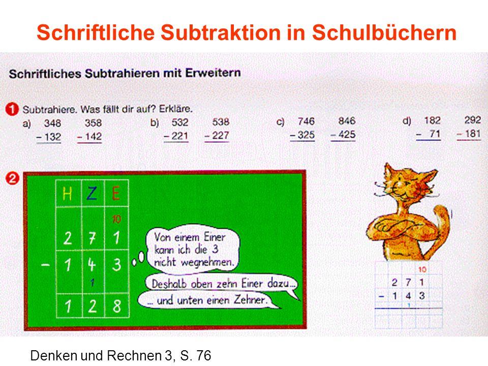 Schriftliche Subtraktion in Schulbüchern Denken und Rechnen 3, S. 76