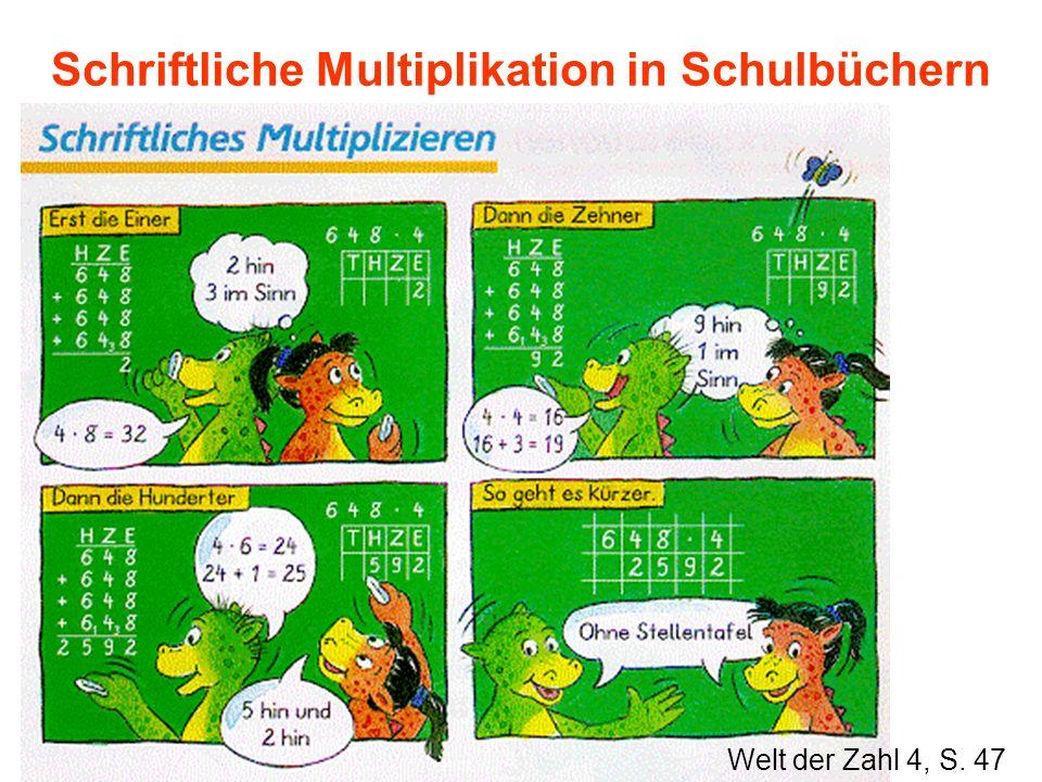 Schriftliche Multiplikation in Schulbüchern Welt der Zahl 4, S. 47