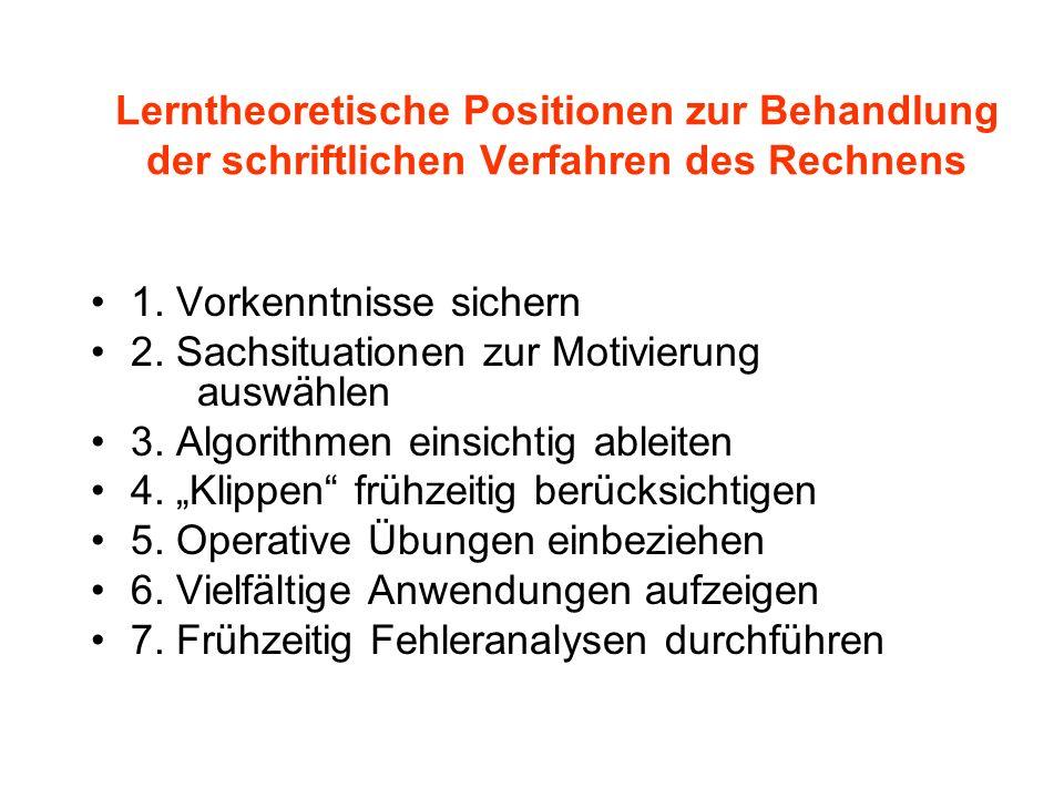 Lerntheoretische Positionen zur Behandlung der schriftlichen Verfahren des Rechnens 1. Vorkenntnisse sichern 2. Sachsituationen zur Motivierung auswäh