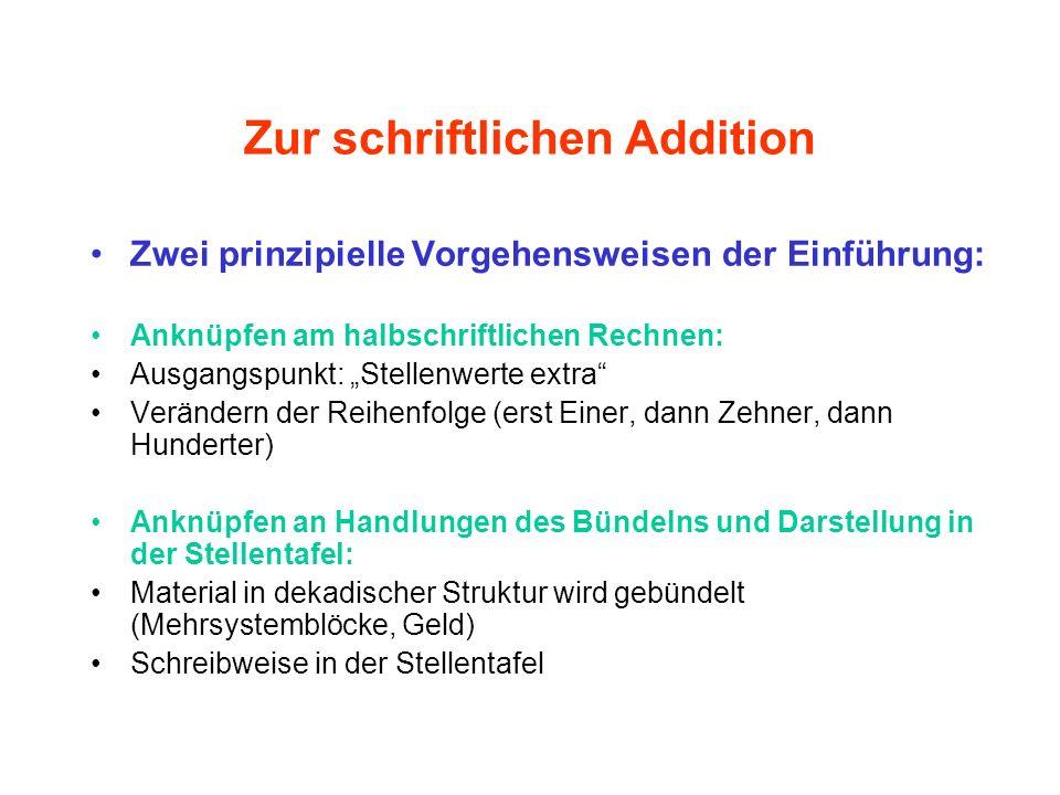Zur schriftlichen Addition Zwei prinzipielle Vorgehensweisen der Einführung: Anknüpfen am halbschriftlichen Rechnen: Ausgangspunkt: Stellenwerte extra