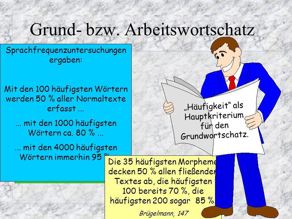 Grund- bzw.Arbeitswortschatz Der deutsche Wortschatz umfasst zwischen 300.000 und 600.000 Wörter.