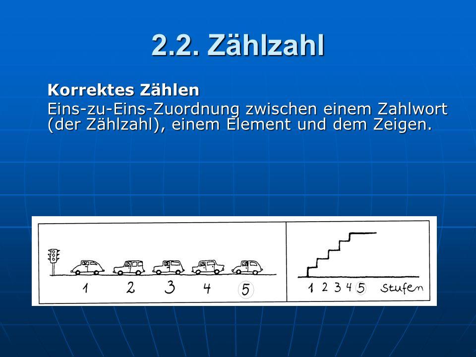 2.2. Zählzahl Korrektes Zählen Eins-zu-Eins-Zuordnung zwischen einem Zahlwort (der Zählzahl), einem Element und dem Zeigen.