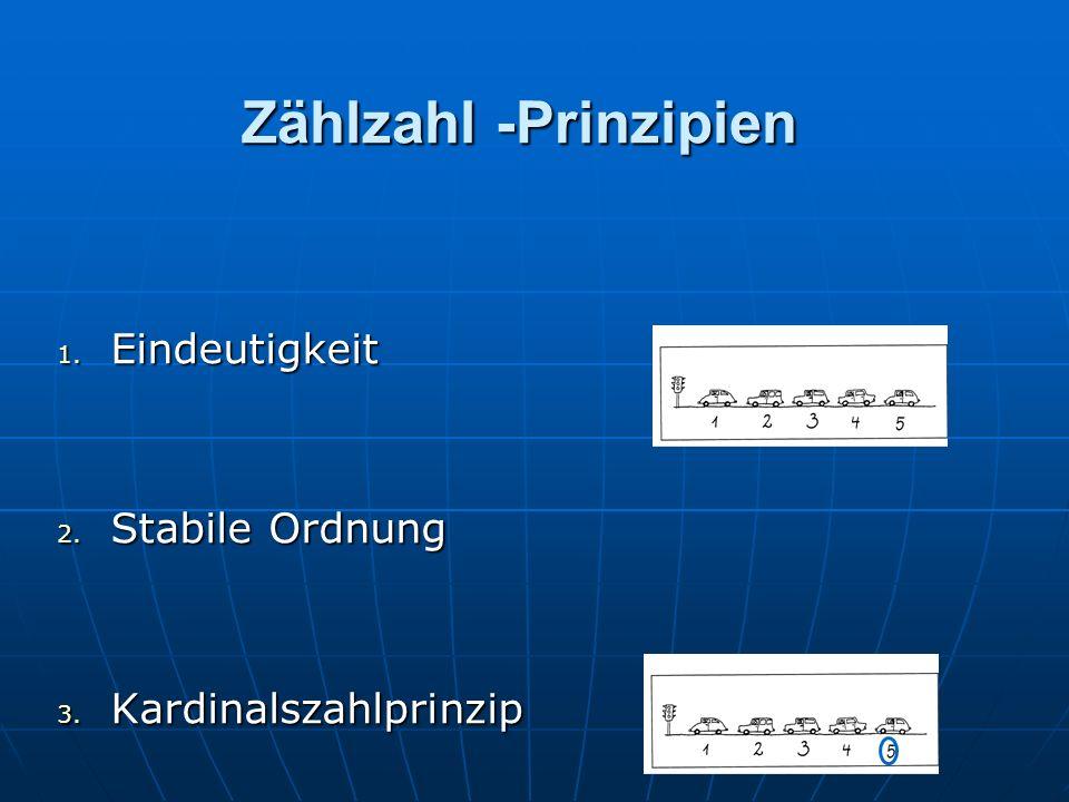 Zählzahl -Prinzipien 1. Eindeutigkeit 2. Stabile Ordnung 3. Kardinalszahlprinzip
