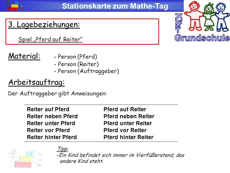 Stationskarte zum Mathe-Tag 3. Lagebeziehungen: Spiel Pferd auf Reiter Material: - Person (Pferd) - Person (Reiter) - Person (Auftraggeber) Arbeitsauf