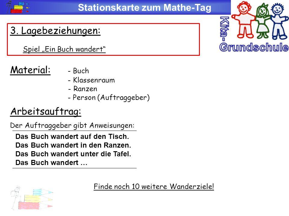 Stationskarte zum Mathe-Tag 3. Lagebeziehungen: Spiel Ein Buch wandert Material: - Buch - Klassenraum - Ranzen - Person (Auftraggeber) Arbeitsauftrag: