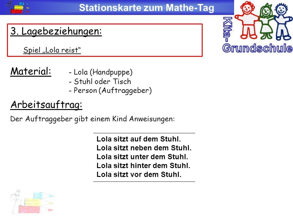 Stationskarte zum Mathe-Tag 3. Lagebeziehungen: Spiel Lola reist Material: - Lola (Handpuppe) - Stuhl oder Tisch - Person (Auftraggeber) Arbeitsauftra
