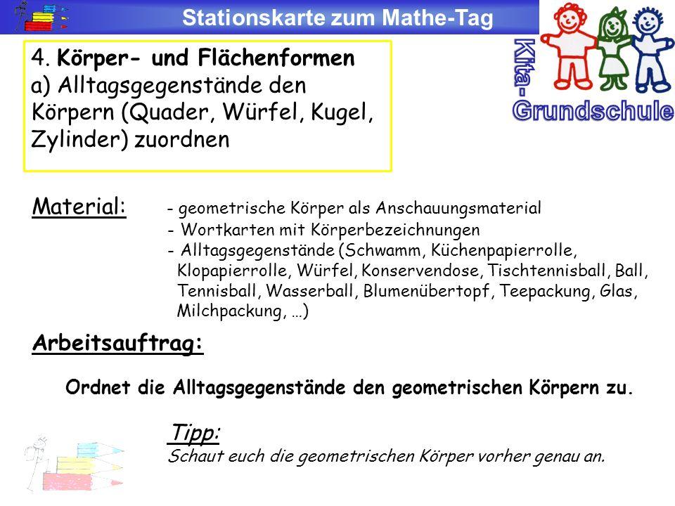 Stationskarte zum Mathe-Tag 4. Körper- und Flächenformen a) Alltagsgegenstände den Körpern (Quader, Würfel, Kugel, Zylinder) zuordnen Material: - geom