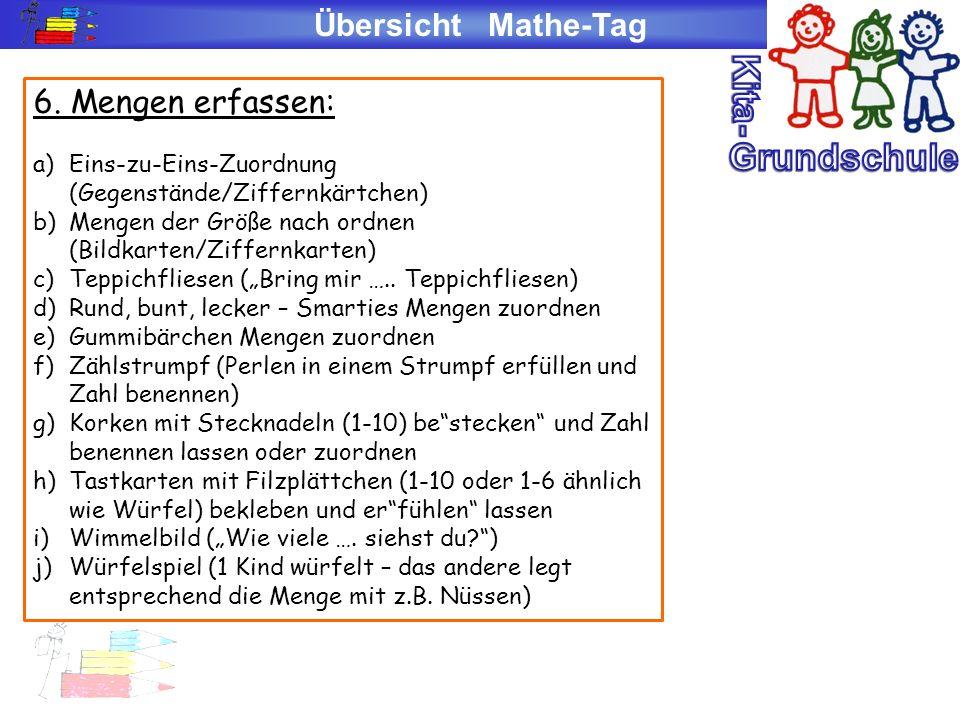 Übersicht Mathe-Tag 6. Mengen erfassen: a)Eins-zu-Eins-Zuordnung (Gegenstände/Ziffernkärtchen) b)Mengen der Größe nach ordnen (Bildkarten/Ziffernkarte