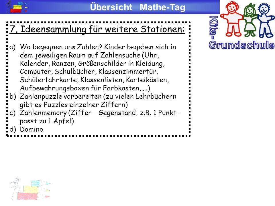 Übersicht Mathe-Tag 7. Ideensammlung für weitere Stationen: a)Wo begegnen uns Zahlen? Kinder begeben sich in dem jeweiligen Raum auf Zahlensuche (Uhr,
