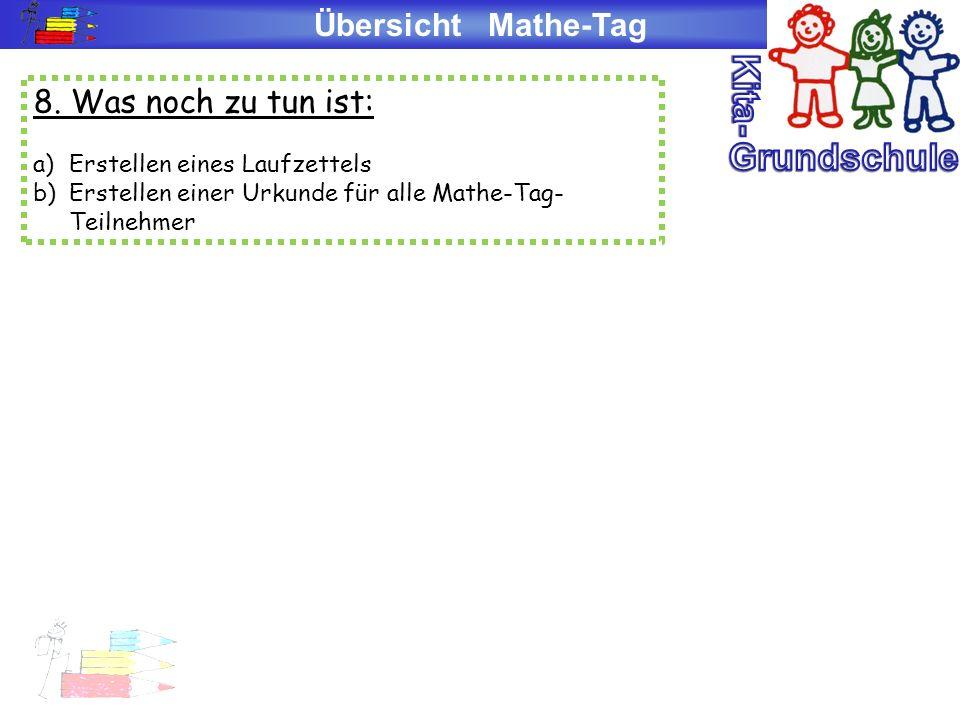 Übersicht Mathe-Tag 8. Was noch zu tun ist: a)Erstellen eines Laufzettels b)Erstellen einer Urkunde für alle Mathe-Tag- Teilnehmer