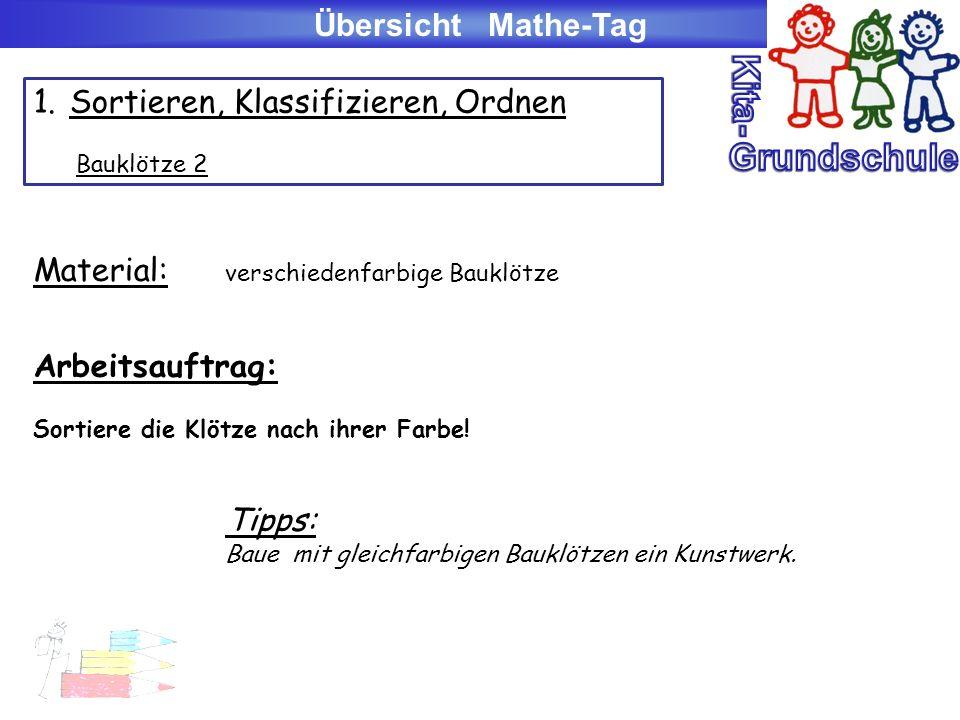Übersicht Mathe-Tag 3.Lagebeziehungen: a)Lego-/Playmobil-/Duplo-Baukästen (z.B.