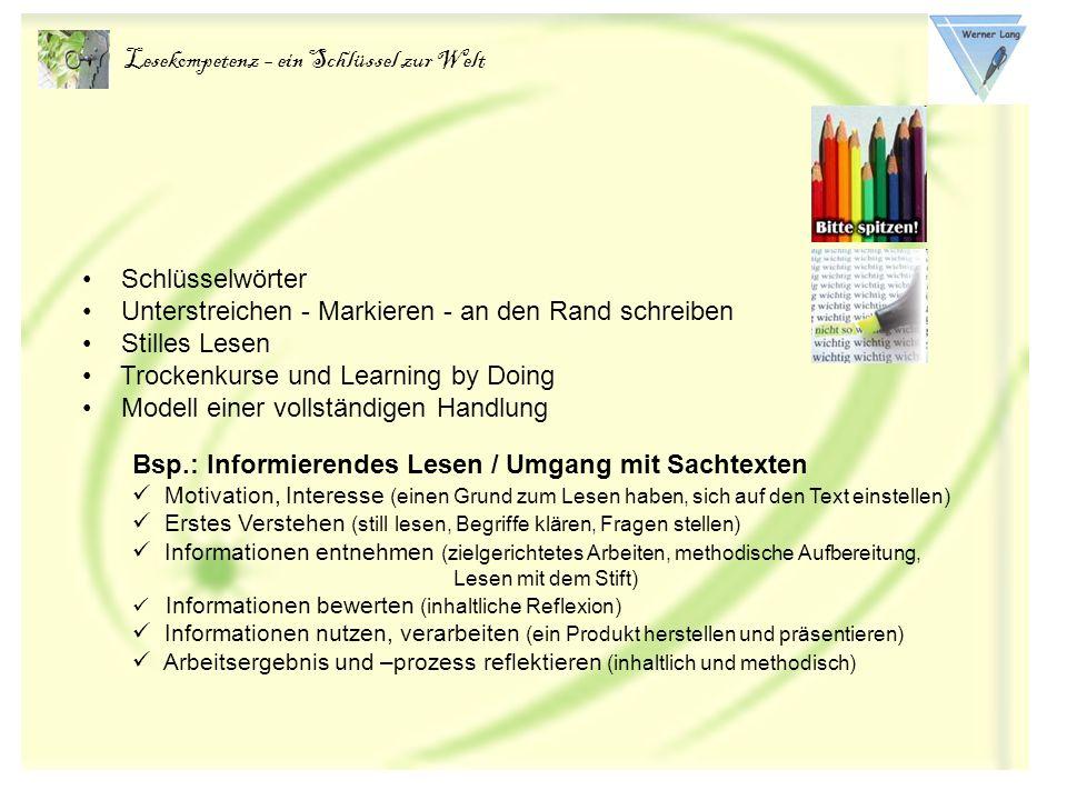 Lesekompetenz – ein Schlüssel zur Welt Lesestrategien und Arbeitstechniken Vorwissen aktivieren (z.B.