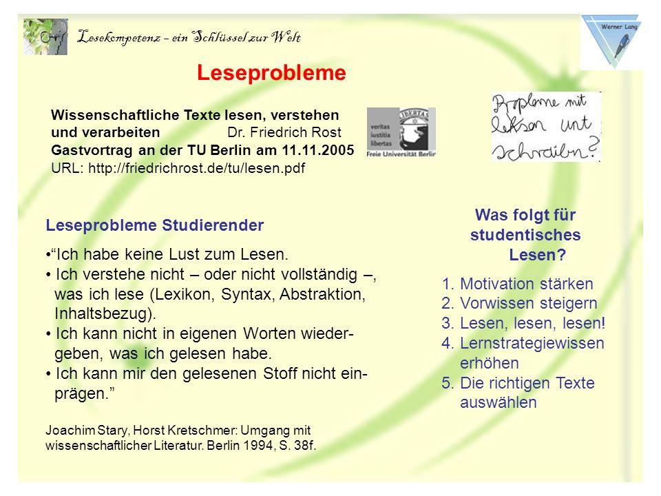 Lesekompetenz – ein Schlüssel zur Welt Und hier einige populäre, tradierte Schul-Irrtümer: Lesen heißt Sinn-Erfassung (Singer 1969) Erst kommt die Technik des Lesens, dann die Sinnentnahme.