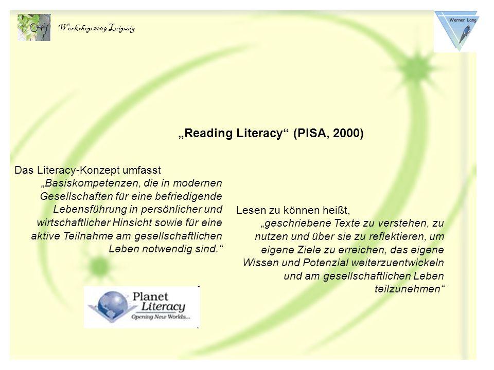 Lesekompetenz – ein Schlüssel zur Welt Pisa-Konzeption der Reading Literacy: Lesen als basales Kulturwerkzeug (Gesellschaftliches, politisches, wirtschaftliches und kulturelles Leben) Ziel: Lesen zur Bewältigung alltäglicher Aufgaben nutzen Lesen als Prozess der Enkulturation Lesen als subjektive Erfahrung Ziel: Lesen als ästhetischen Erfahrung mit Literatur Lesen zur Bewältigung von Entwicklungsaufgaben nutzen Lesebereitschaft aufbauen Bereitschaft, sich affektiv auf den Leseprozess einzulassen