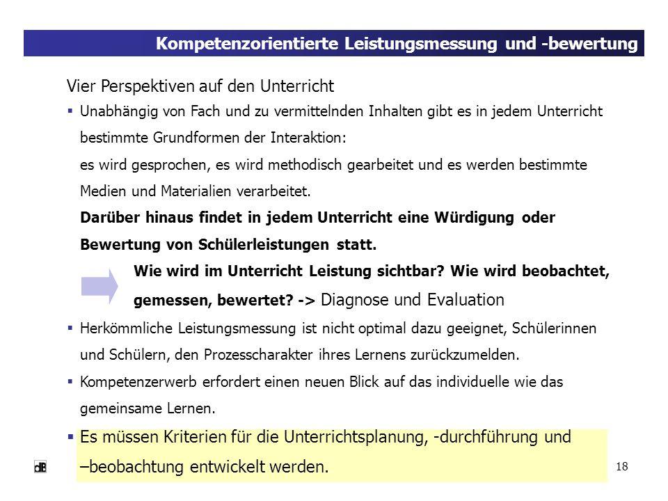 18 Kompetenzorientierte Leistungsmessung und -bewertung Vier Perspektiven auf den Unterricht Unabhängig von Fach und zu vermittelnden Inhalten gibt es