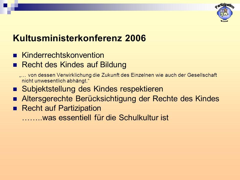 Kultusministerkonferenz 2006 Kinderrechtskonvention Recht des Kindes auf Bildung … von dessen Verwirklichung die Zukunft des Einzelnen wie auch der Gesellschaft nicht unwesentlich abhängt.