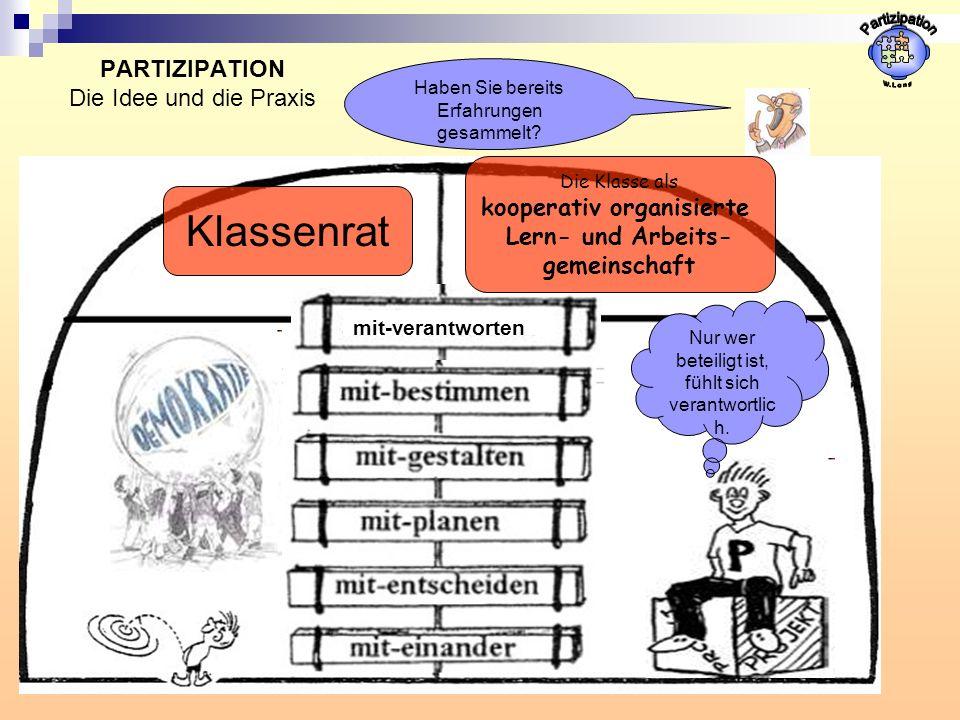 PARTIZIPATION Die Idee und die Praxis Klassenrat Haben Sie bereits Erfahrungen gesammelt? mit-verantworten Die Klasse als kooperativ organisierte Lern