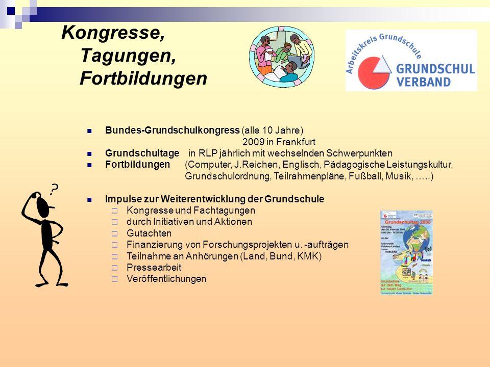 Kongresse, Tagungen, Fortbildungen Bundes-Grundschulkongress (alle 10 Jahre) 2009 in Frankfurt Grundschultage in RLP jährlich mit wechselnden Schwerpu