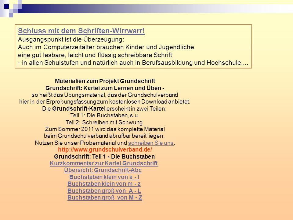 Materialien zum Projekt Grundschrift Grundschrift: Kartei zum Lernen und Üben - so heißt das Übungsmaterial, das der Grundschulverband hier in der Erprobungsfassung zum kostenlosen Download anbietet.