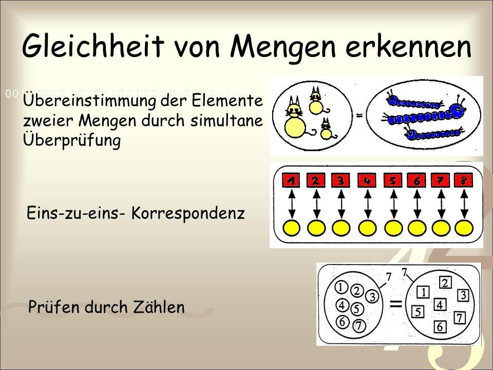 Gleichheit von Mengen erkennen Übereinstimmung der Elemente zweier Mengen durch simultane Überprüfung Eins-zu-eins- Korrespondenz Prüfen durch Zählen