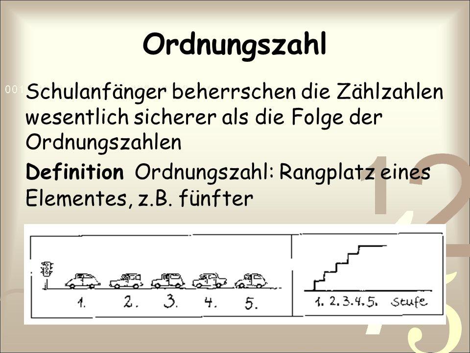 Ordnungszahl Schulanfänger beherrschen die Zählzahlen wesentlich sicherer als die Folge der Ordnungszahlen Definition Ordnungszahl: Rangplatz eines El