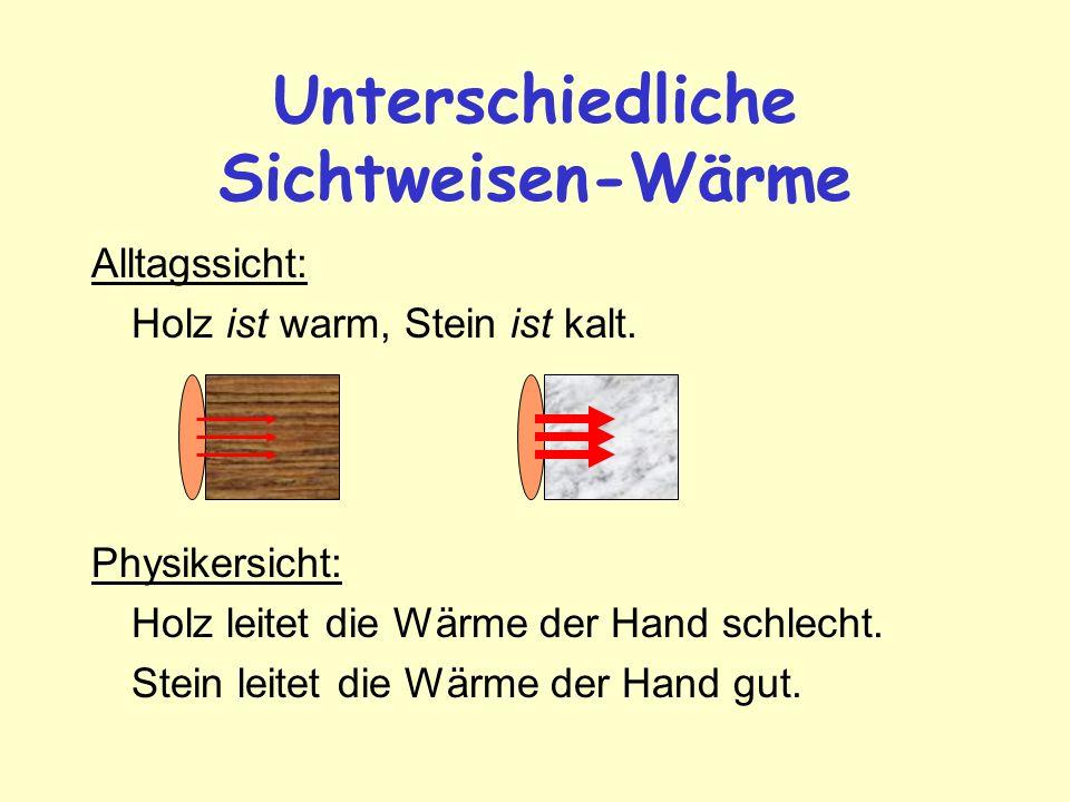 Unterschiedliche Sichtweisen-Wärme Alltagssicht: Holz ist warm, Stein ist kalt. Physikersicht: Holz leitet die Wärme der Hand schlecht. Stein leitet d