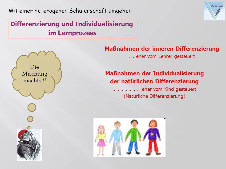 Maßnahmen der Individualisierung der natürlichen Differenzierung ………………. eher vom Kind gesteuert (Natürliche Differenzierung) Maßnahmen der inneren Di