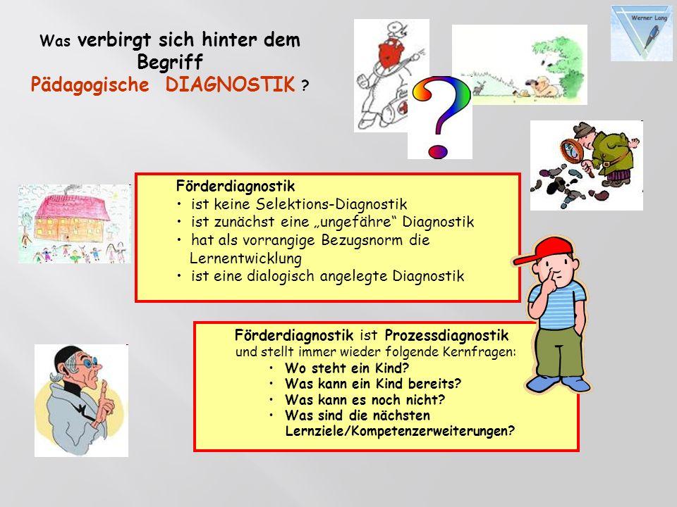 Was verbirgt sich hinter dem Begriff Pädagogische DIAGNOSTIK ? Förderdiagnostik ist Prozessdiagnostik und stellt immer wieder folgende Kernfragen: Wo