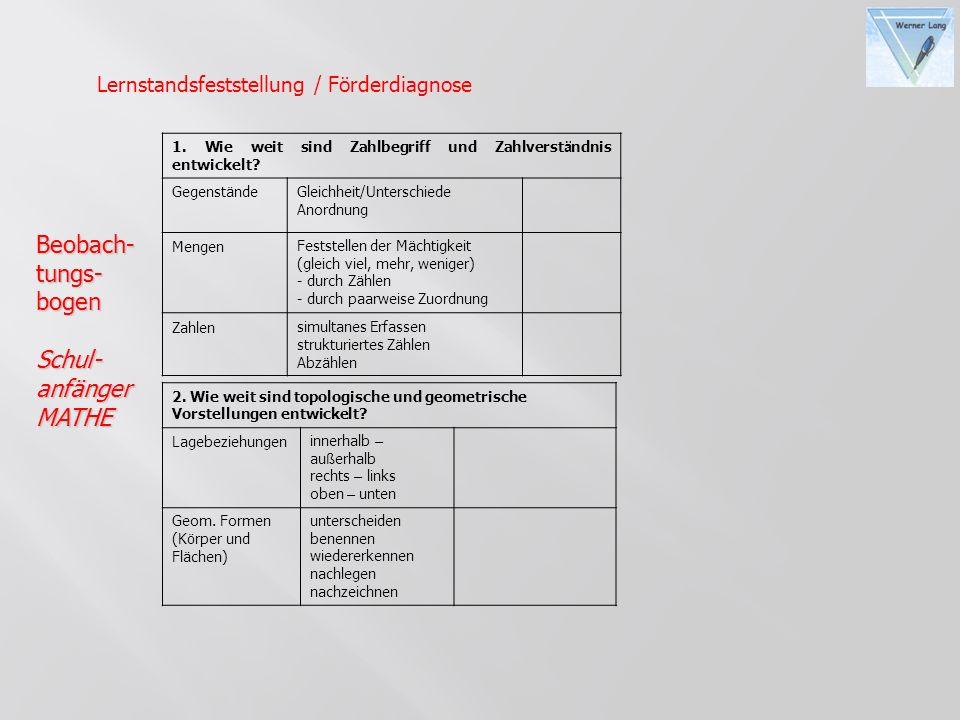 Beobach-tungs-bogenSchul-anfängerMATHE 1. Wie weit sind Zahlbegriff und Zahlverst ä ndnis entwickelt? Gegenst ä ndeGleichheit/Unterschiede Anordnung M