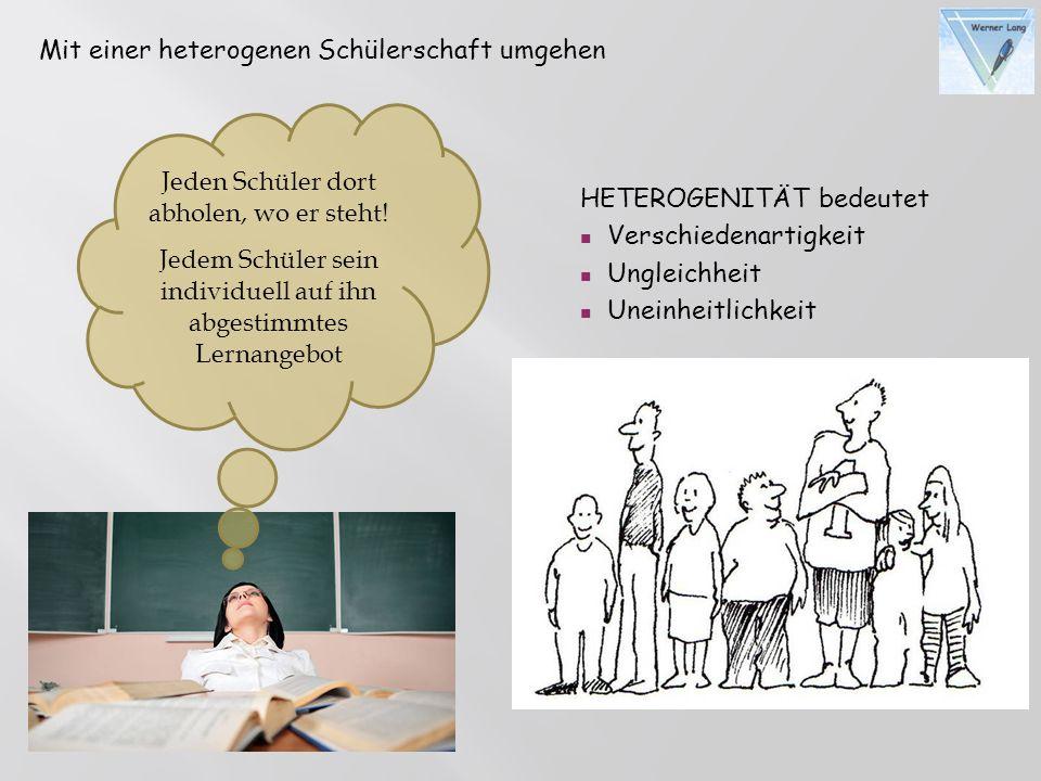 Mit einer heterogenen Schülerschaft umgehen HETEROGENITÄT bedeutet Verschiedenartigkeit Ungleichheit Uneinheitlichkeit Jeden Schüler dort abholen, wo