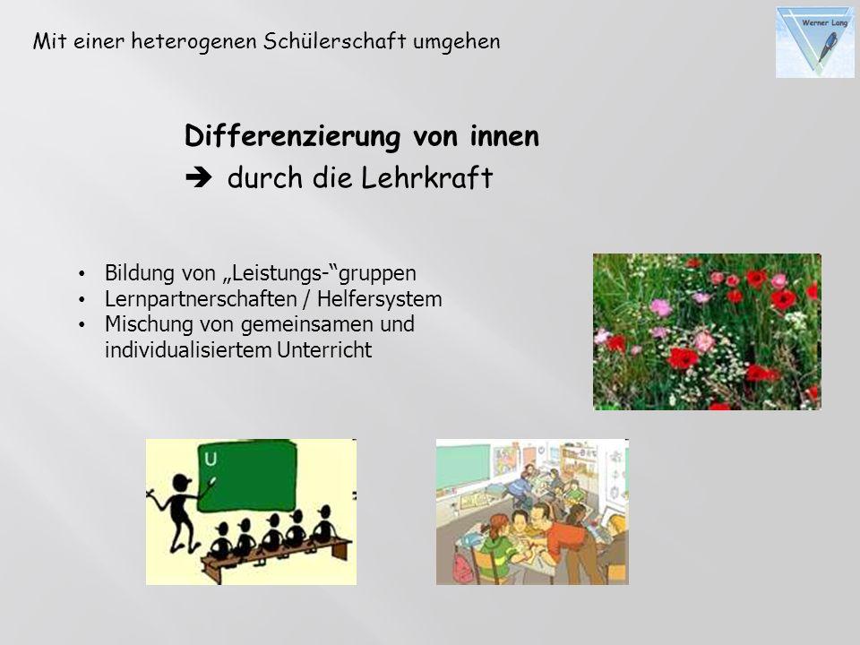 Differenzierung von innen durch die Lehrkraft Bildung von Leistungs-gruppen Lernpartnerschaften / Helfersystem Mischung von gemeinsamen und individual