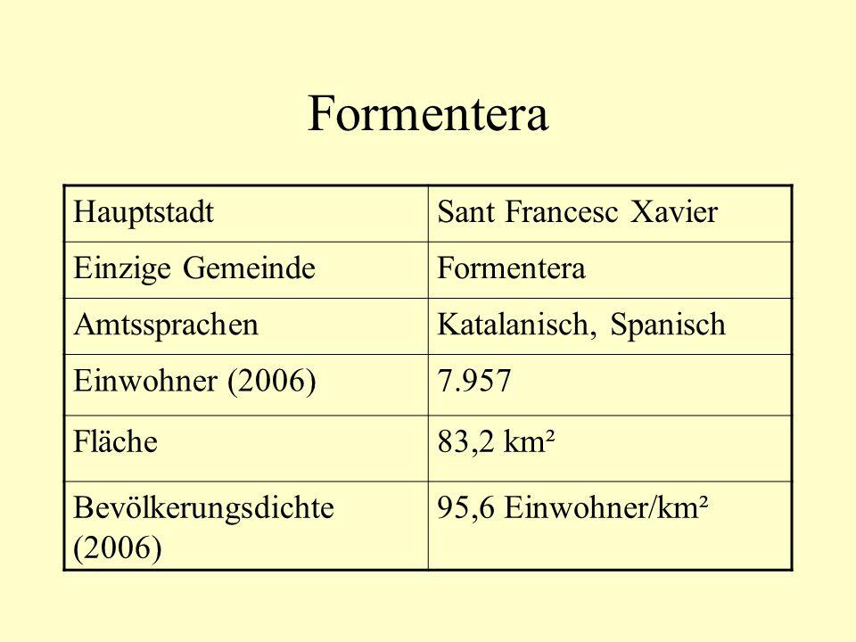 HauptstadtSant Francesc Xavier Einzige GemeindeFormentera AmtssprachenKatalanisch, Spanisch Einwohner (2006)7.957 Fläche83,2 km² Bevölkerungsdichte (2