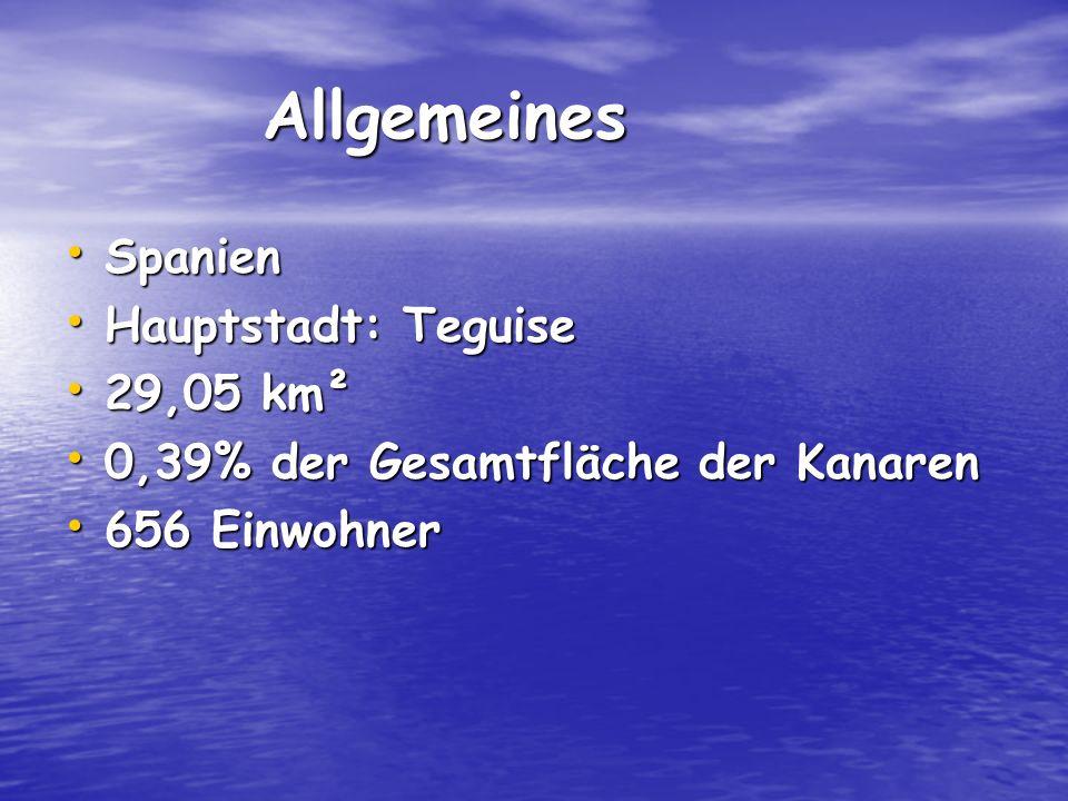Allgemeines Allgemeines Spanien Spanien Hauptstadt: Teguise Hauptstadt: Teguise 29,05 km² 29,05 km² 0,39% der Gesamtfläche der Kanaren 0,39% der Gesamtfläche der Kanaren 656 Einwohner 656 Einwohner