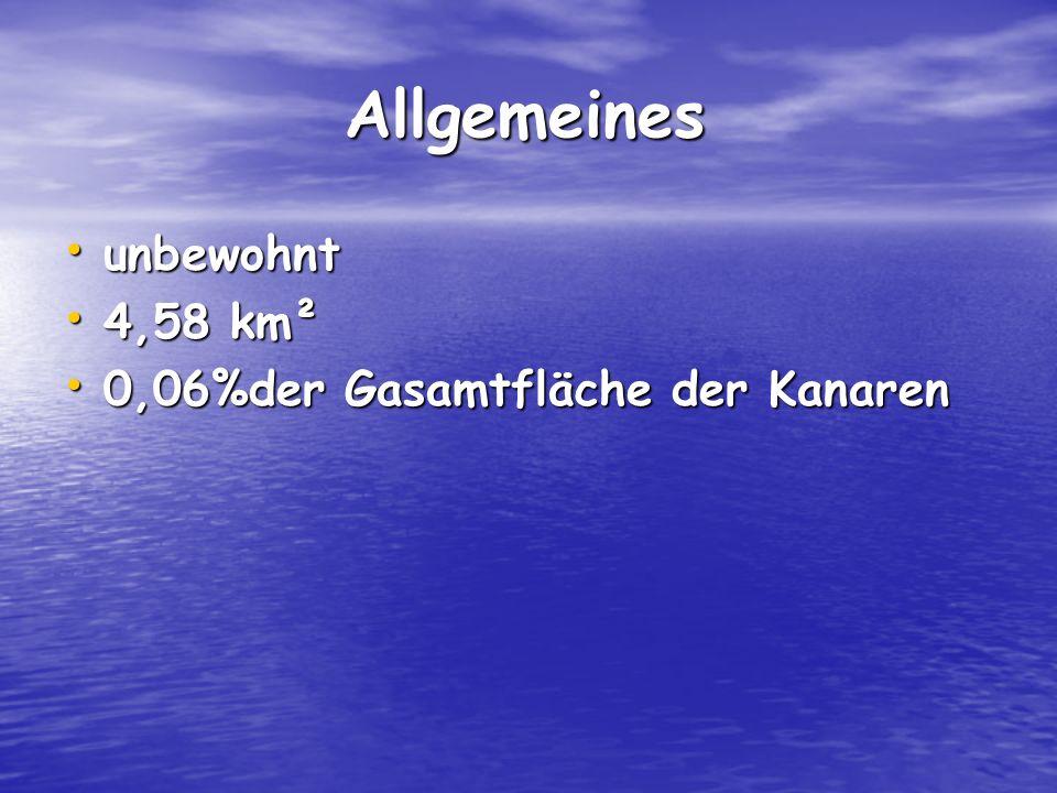 Allgemeines Allgemeines unbewohnt unbewohnt 4,58 km² 4,58 km² 0,06%der Gasamtfläche der Kanaren 0,06%der Gasamtfläche der Kanaren