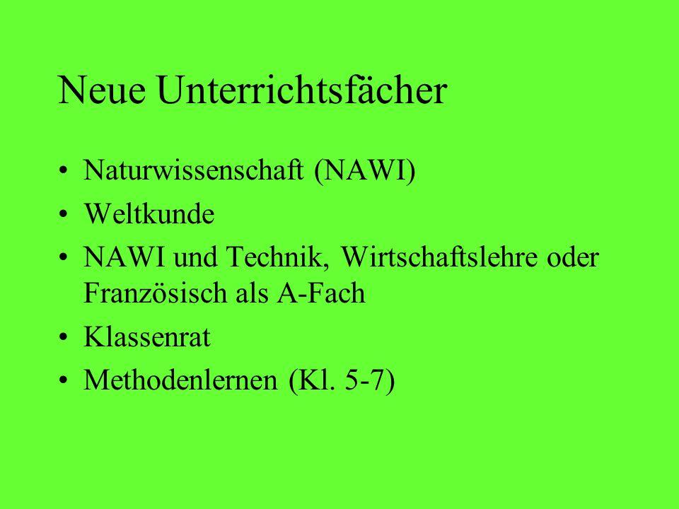 Neue Unterrichtsfächer Naturwissenschaft (NAWI) Weltkunde NAWI und Technik, Wirtschaftslehre oder Französisch als A-Fach Klassenrat Methodenlernen (Kl