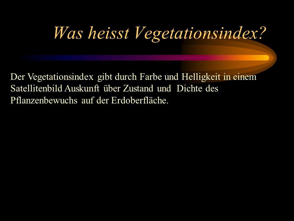 Was heisst Vegetationsindex? Der Vegetationsindex gibt durch Farbe und Helligkeit in einem Satellitenbild Auskunft über Zustand und Dichte des Pflanze