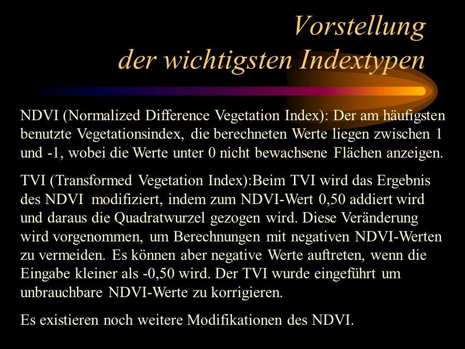 Vorstellung der wichtigsten Indextypen NDVI (Normalized Difference Vegetation Index): Der am häufigsten benutzte Vegetationsindex, die berechneten Wer