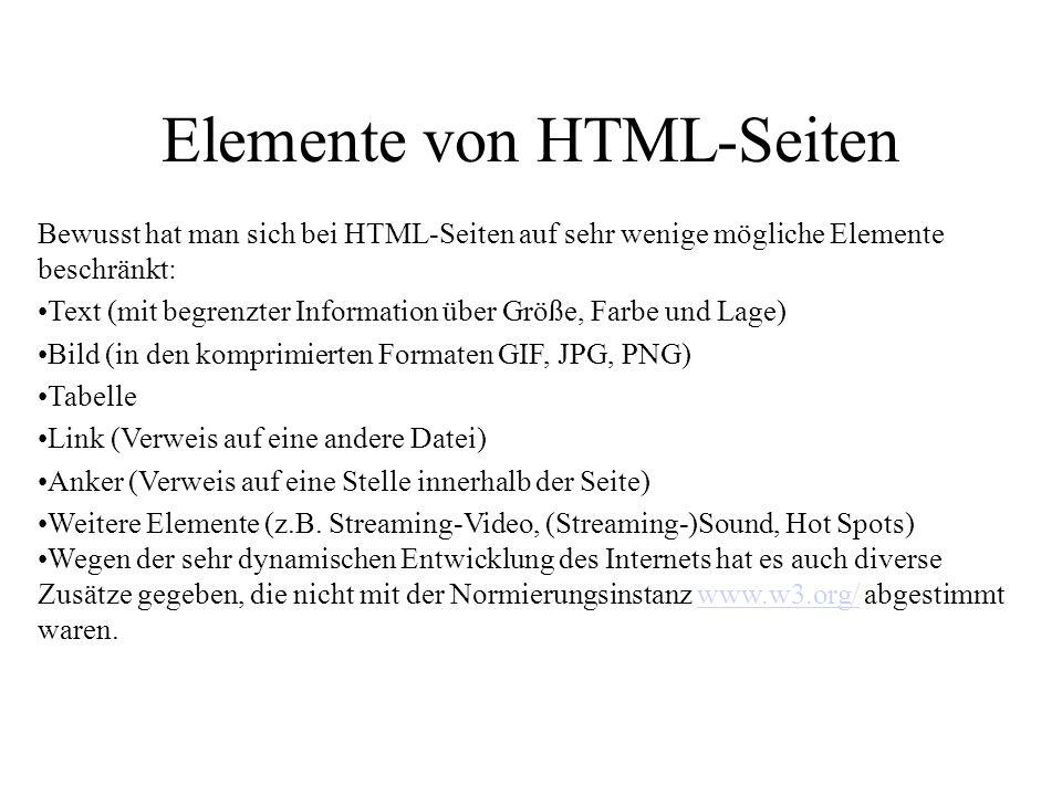 Elemente von HTML-Seiten Bewusst hat man sich bei HTML-Seiten auf sehr wenige mögliche Elemente beschränkt: Text (mit begrenzter Information über Größ