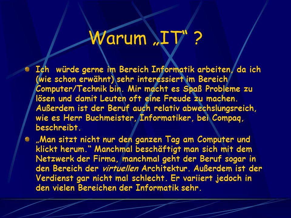 Warum IT ? Ich würde gerne im Bereich Informatik arbeiten, da ich (wie schon erwähnt) sehr interessiert im Bereich Computer/Technik bin. Mir macht es
