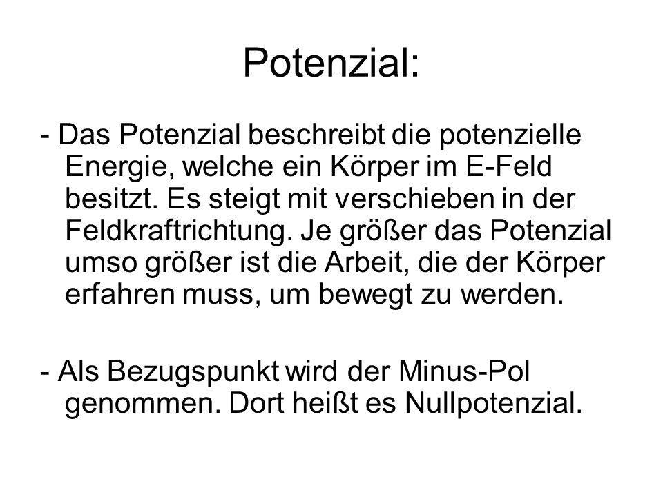Potenzial: - Das Potenzial beschreibt die potenzielle Energie, welche ein Körper im E-Feld besitzt. Es steigt mit verschieben in der Feldkraftrichtung